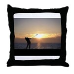 Playing Golf At Sunset Throw Pillow