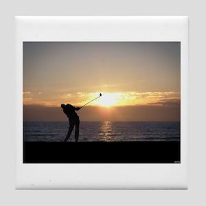 Playing Golf At Sunset Tile Coaster