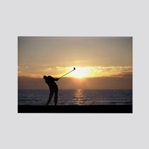 Playing Golf At Sunset Rectangle Magnet