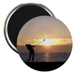 Playing Golf At Sunset Magnet