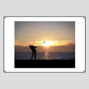 Playing Golf At Sunset Banner