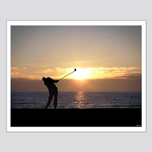 Playing Golf At Sunset Small Poster