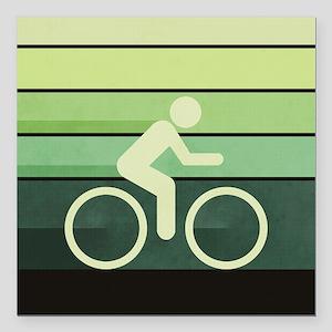 "Biking Green Square Car Magnet 3"" x 3"""