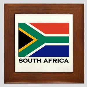 South Africa Flag Gear Framed Tile