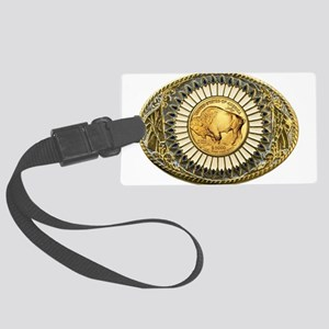 Buffalo gold oval 1 Large Luggage Tag
