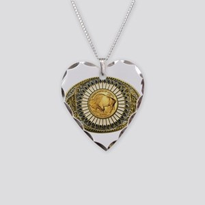 Buffalo gold oval 1 Necklace Heart Charm