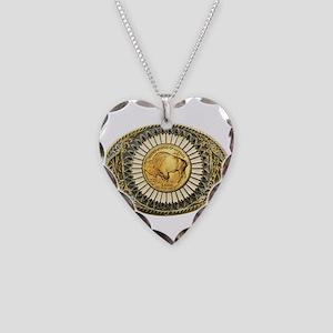 Buffalo gold oval 1 Necklace Heart Charm