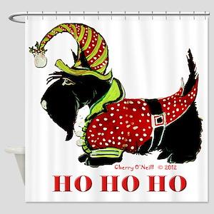 Santas Scottie Elf Shower Curtain