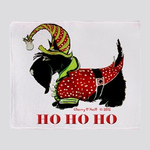 Santas Scottie Elf Throw Blanket