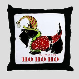 Santas Scottie Elf Throw Pillow