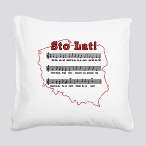 Sto Lat! Song Polish Map Square Canvas Pillow