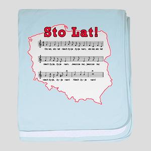 Sto Lat! Song Polish Map baby blanket