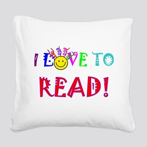 Love to Read Square Canvas Pillow