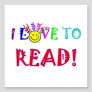 "Love to Read Square Car Magnet 3"" x 3"""