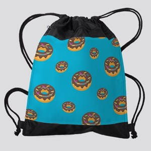 Donut Blue Pattern Drawstring Bag