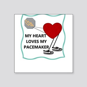 """Heart Pacemaker Square Sticker 3"""" x 3"""""""