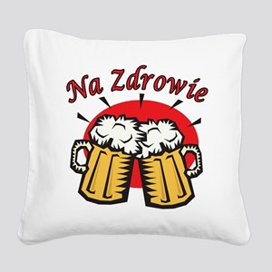 Na Zdrowie Toast With Beer Mugs Square Canvas Pill