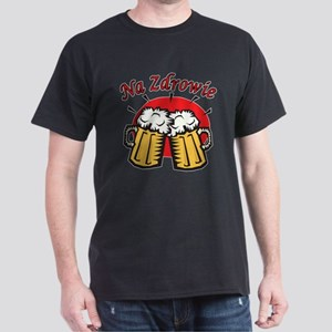 Na Zdrowie Toast With Beer Mugs Dark T-Shirt