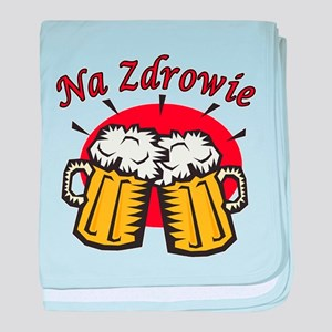Na Zdrowie Toast With Beer Mugs baby blanket