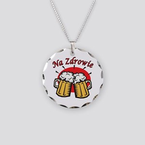Na Zdrowie Toast With Beer Mugs Necklace Circle Ch