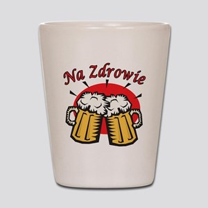 Na Zdrowie Toast With Beer Mugs Shot Glass