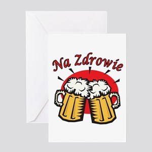 Na Zdrowie Toast With Beer Mugs Greeting Card