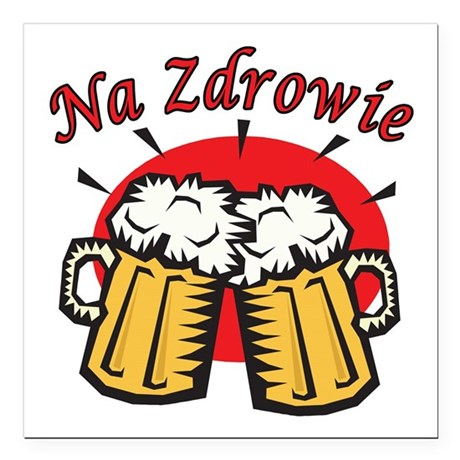 Na Zdrowie Toast With Beer Mugs Square Car Magnet
