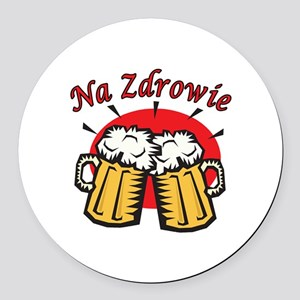 Na Zdrowie Toast With Beer Mugs Round Car Magnet