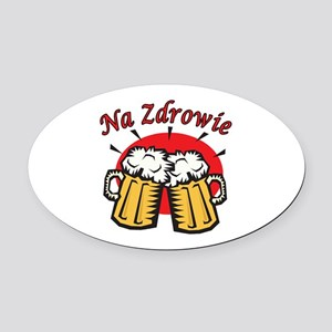 Na Zdrowie Toast With Beer Mugs Oval Car Magnet