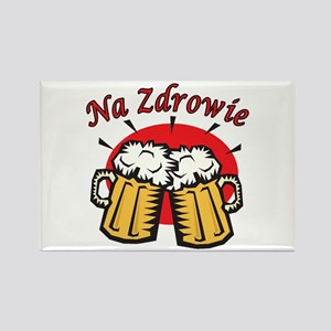 Na Zdrowie Toast With Beer Mugs Rectangle Magnet