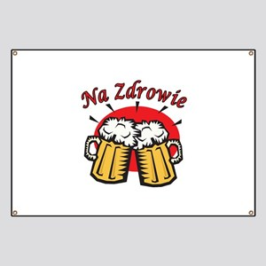 Na Zdrowie Toast With Beer Mugs Banner