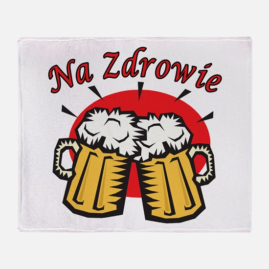 Na Zdrowie Toast With Beer Mugs Throw Blanket
