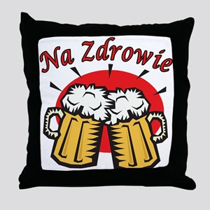 Na Zdrowie Toast With Beer Mugs Throw Pillow
