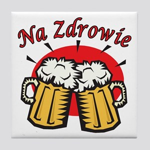 Na Zdrowie Toast With Beer Mugs Tile Coaster