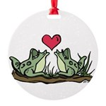 2 Frogs Round Ornament