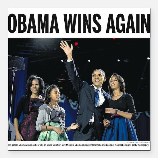 """Obama Wins Again 2012 Car Magnet 3"""" x 3"""""""