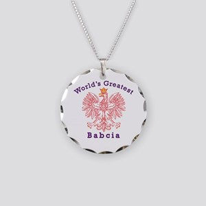 World's Greatest Babcia Red Eagle Necklace Circle