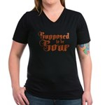 Supposed to be Sour Women's V-Neck Dark T-Shirt