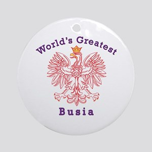World's Greatest Busia Red Eagle Ornament (Round)