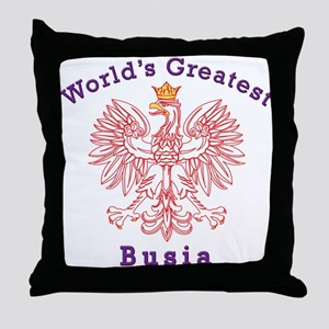 World's Greatest Busia Red Eagle Throw Pillow