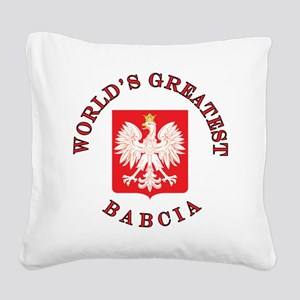 World's Greatest Babcia Crest Square Canvas Pillow
