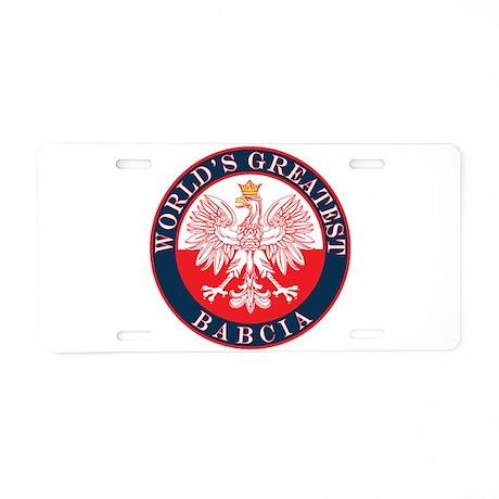 Round World's Greatest Babcia Aluminum License Pla