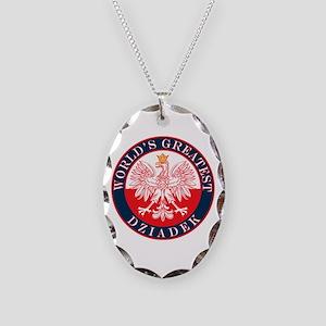 Round World's Greatest Dziadek Necklace Oval Charm