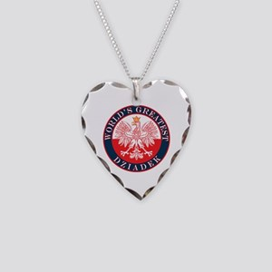 Round World's Greatest Dziadek Necklace Heart Char