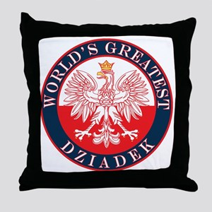 Round World's Greatest Dziadek Throw Pillow