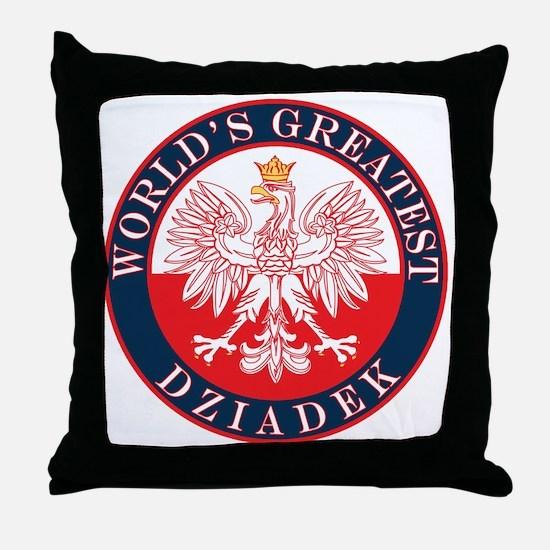 Round World's Greatest Dziadek Throw Pillow