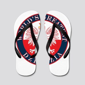 Round World's Greatest Dziadzia Flip Flops