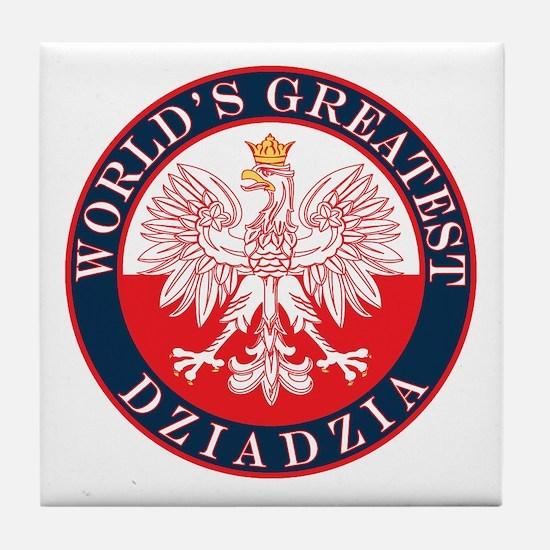Round World's Greatest Dziadzia Tile Coaster