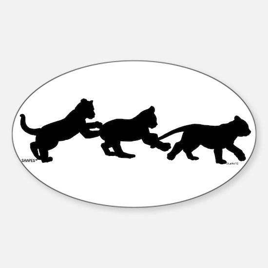 lion cub shapes Sticker (Oval)