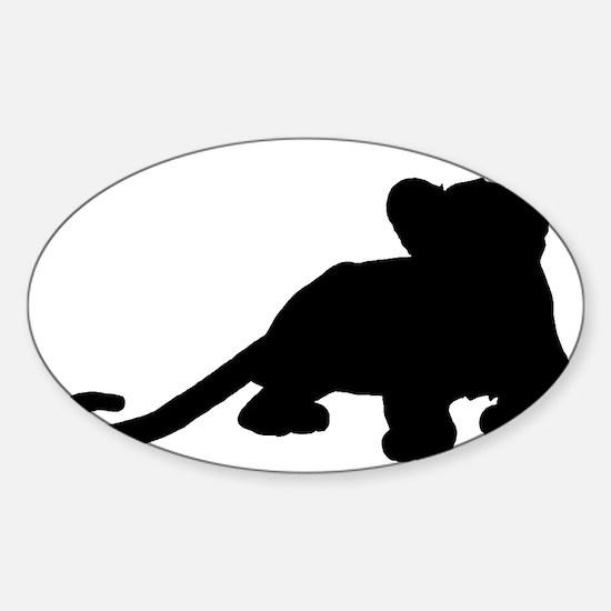 Lion cub shape Sticker (Oval)